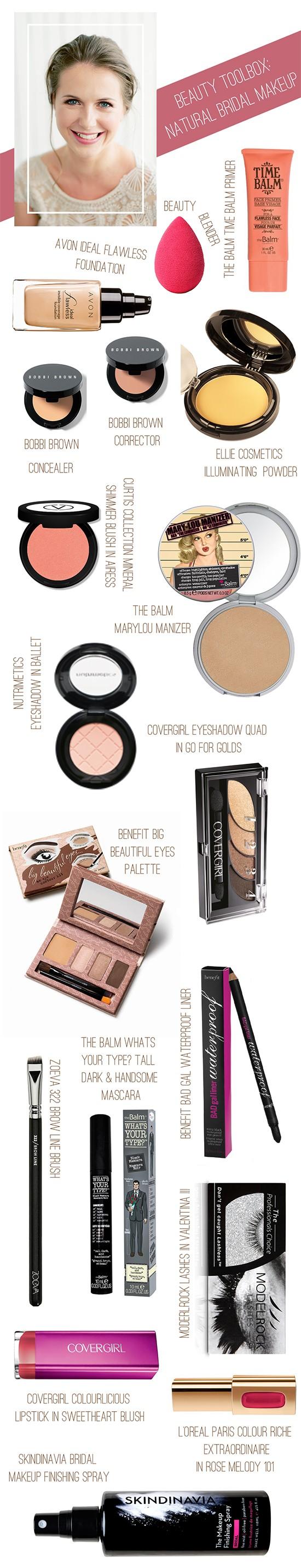 Natural bridal makeup toolbox