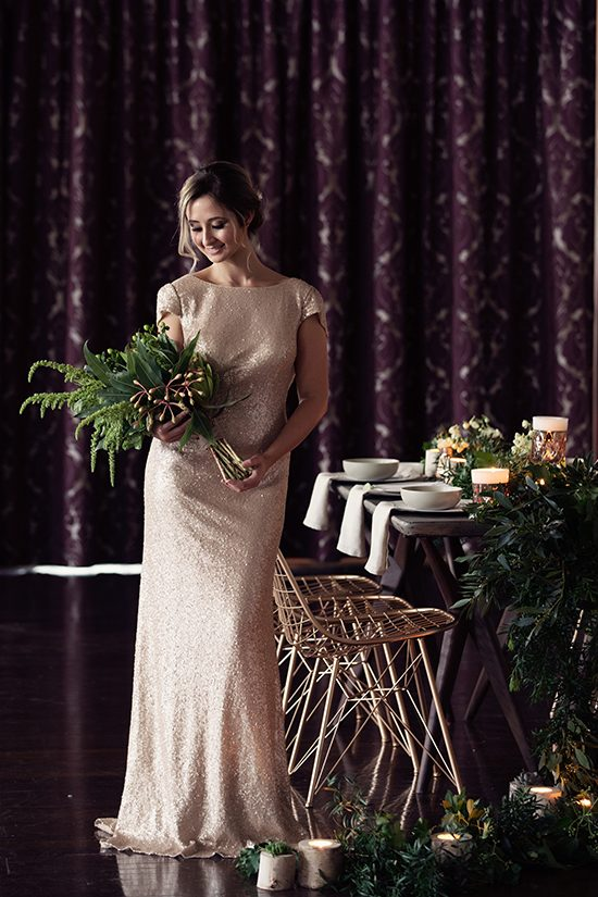 Bridesmaid in Champagne Sequin Gown