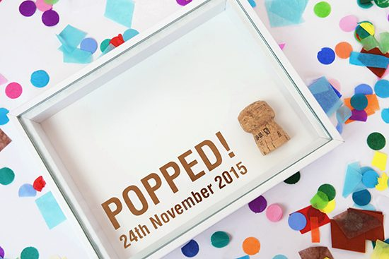 Copepr foil shadowbox for cork