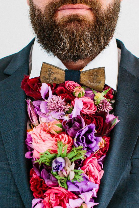 Dapper Fresh Flower Groom Style007