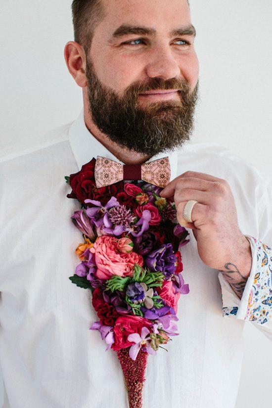 Dapper Fresh Flower Groom Style030