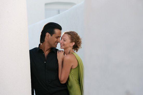 Glam Santorini Engagement Photos - Polka Dot Bride